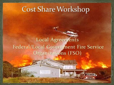 Local Agreements Federal/ Local Government Fire Service Organizations (FSO) Federal/ Local Government Fire Service Organizations (FSO)