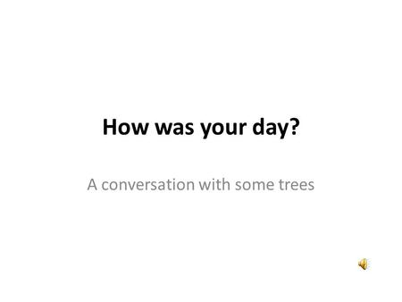 How was your day? A conversation with some trees.
