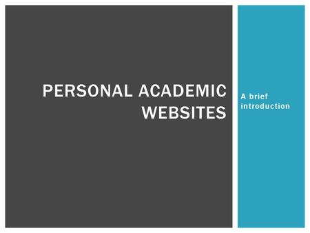 Personal Academic Websites