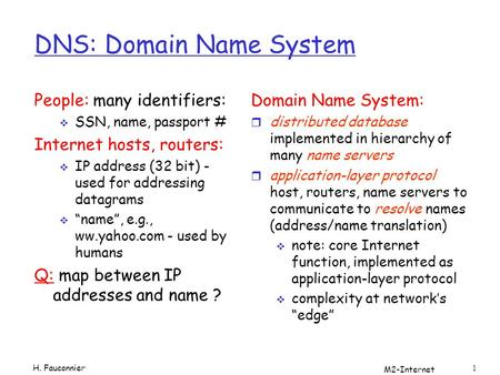 M2-Internet 1 DNS: Domain Name System People: many identifiers: SSN, name, passport # Internet hosts, routers: IP address (32 bit) - used for addressing.