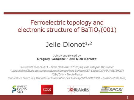 Ferroelectric topology and electronic structure of BaTiO 3 (001) 1 Université Paris-Sud 11 – École Doctorale 107 Physique de la Région Parisienne 2 Laboratoire.