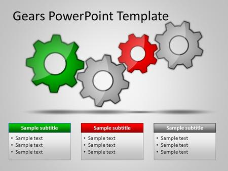 Gears PowerPoint Template Sample subtitle Sample text Sample subtitle Sample text Sample subtitle Sample text.