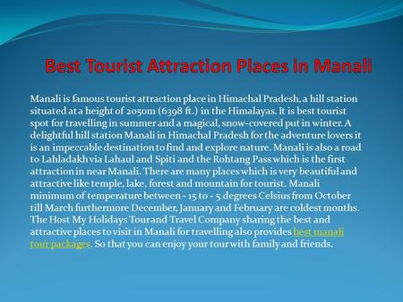 Best Tourist Attraction Places in Manali