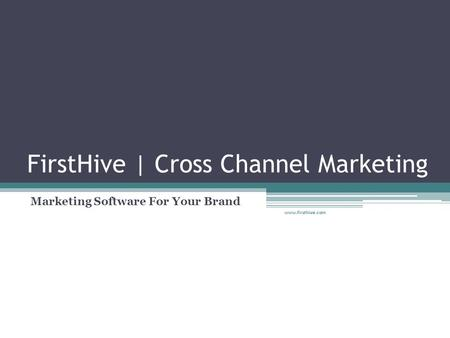 FirstHive | Cross Channel Marketing Marketing Software For Your Brand