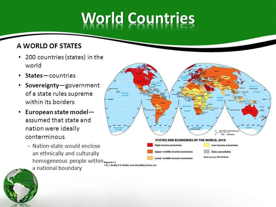 A WORLD OF STATES Ideal statedefined as a clearly and legally defined territory inhabited by a citizenry governed from a capital city by a representative government Modern statechallenged From below by ethnic minorities and regional secessionist movements From above through increasingly powerful international organizations