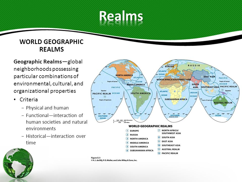 WORLD GEOGRAPHIC REALMS Boundaries and Transition Zones Natural boundariesoceans and seas Transition zoneswhere two geographic realms meet, no sharp boundaries