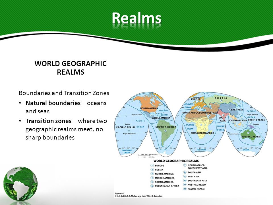 WORLD GEOGRAPHIC REALMS Two Varieties of Realms Monocentricdominated by a single major political entity, in terms of territory and/or population Example: United States, Mexico, China, India, Russia, Australia Polycentricappearance, functioning, and organization of the realm are dispersed among a number of more or less equally influential regions or countries Example: Europe, North Africa/Southwest Asia, Sub- Saharan Africa, Pacific Realm