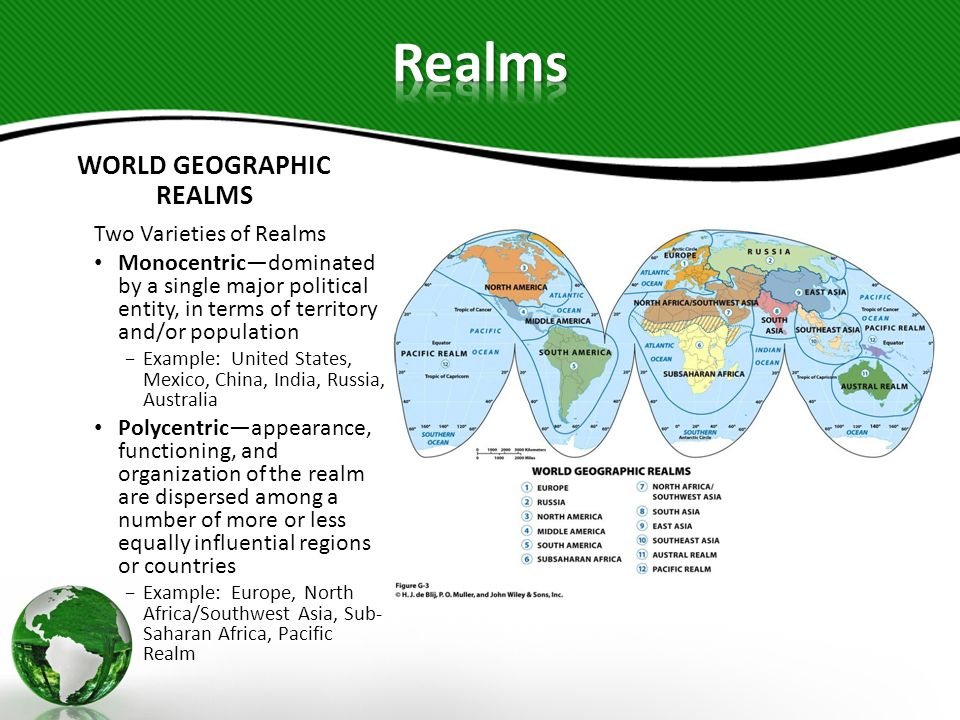 REGIONS WITHIN REALMS Regional conceptrefined level of spatial classification requiring more specific criteria Regiondevice that allows making spatial generalizations, based on selected criteria to construct them Criteria for Regions Areaspace occupied on Earths surface Boundariesnatures sharp divisions or divisions determined by using specific criteria Locationregions name may give a clue Absolute location latitudinal and longitudinal coordinates Relative locationlocation with reference to other regions