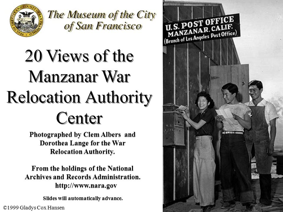 Manzanar, Calif.Evacuees of Japanese ancestry are enjoying postal service at this War Relocation Authority center.