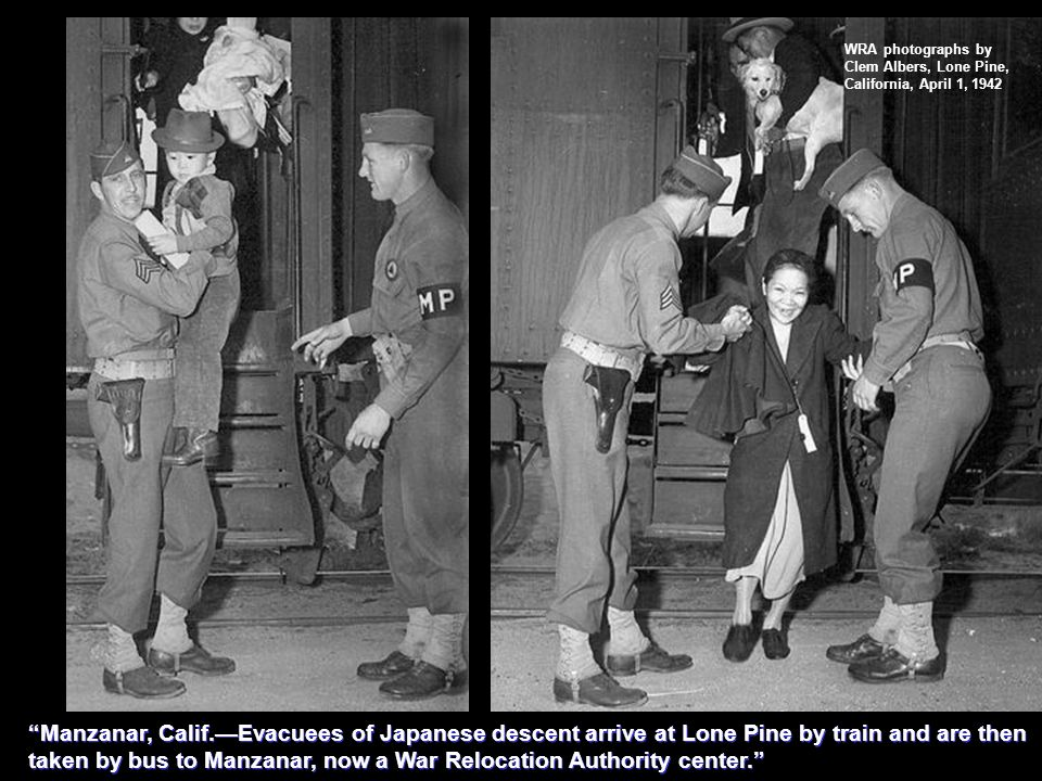 WRA photographs by Clem Albers, Lone Pine, California, April 1, 1942 Manzanar, Calif.Evacuees of Japanese descent arrive at Lone Pine by train and are then taken by bus to Manzanar, now a War Relocation Authority center.