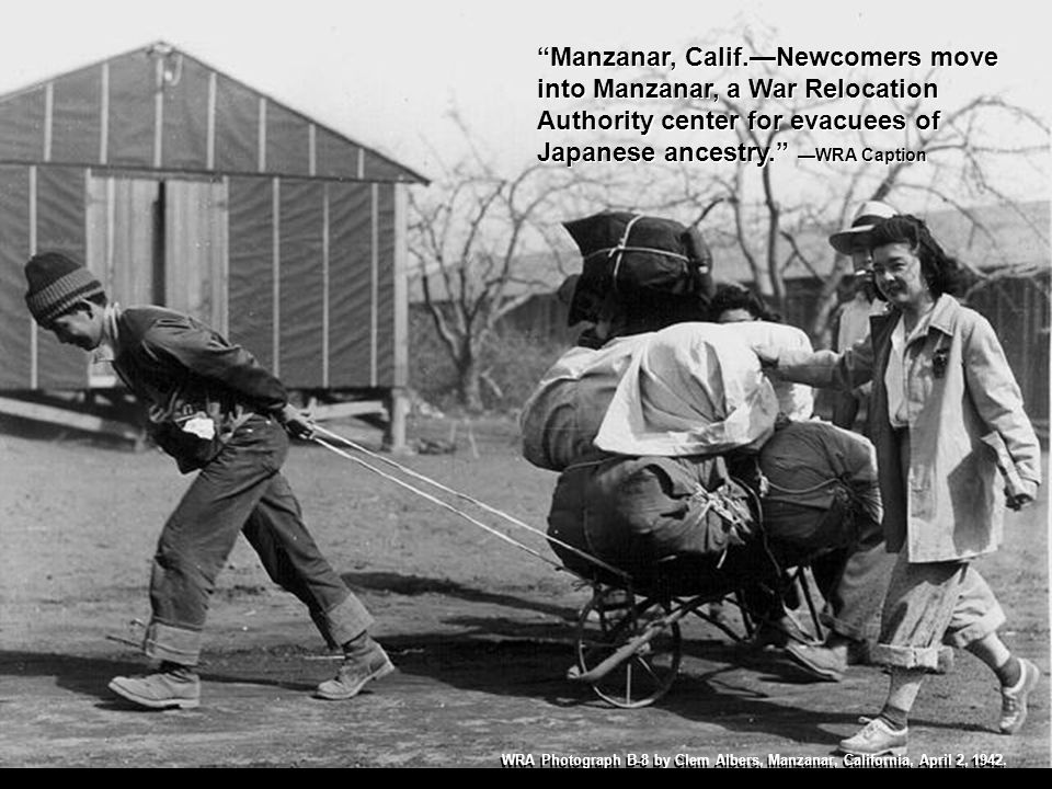 Manzanar, Calif.Evacuees of Japanese descent carry their personal effects preparatory to setting up housekeeping at this War Relocation Authority center.