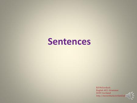 English Grammar Lecture 5: Sentences
