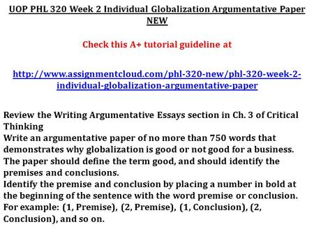 phl320 queen wk2 globalization argumentative essay
