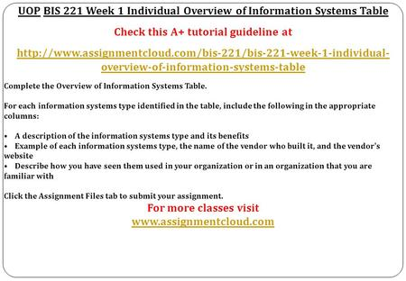 UOP BIS 221 Week 1 Individual Overview of Information Systems Table Check this A+ tutorial guideline at