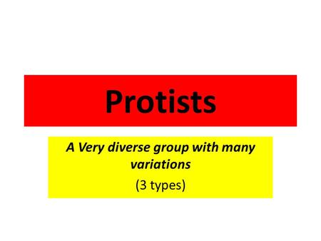 Protists A Very diverse group with many variations (3 types)
