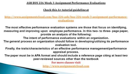 ASH BUS 226 Week 3 Assignment Performance Evaluations Check this A+ tutorial guideline at
