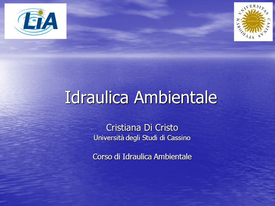 Idraulica Ambientale What is Environmental Hydraulics.