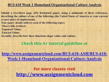 assignment 3 bus 642 Bus 642 week 3 assignment research project you will receive feedback on the previous week's assignment by sunday 11:59pm before you complete your week three assignment, please read your instructor's comments about your week two assignment, as well as this week's lecture.