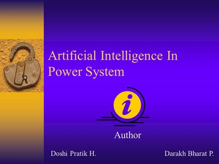 Artificial Intelligence In Power System Author Doshi Pratik H.Darakh Bharat P.