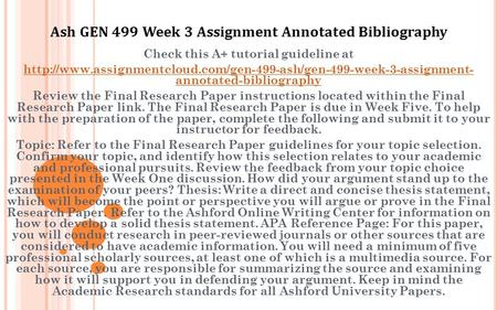 final paper outline and annotated bibliography