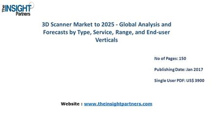 3D Scanner Market to Global Analysis and Forecasts by Type, Service, Range, and End-user Verticals No of Pages: 150 Publishing Date: Jan 2017 Single.