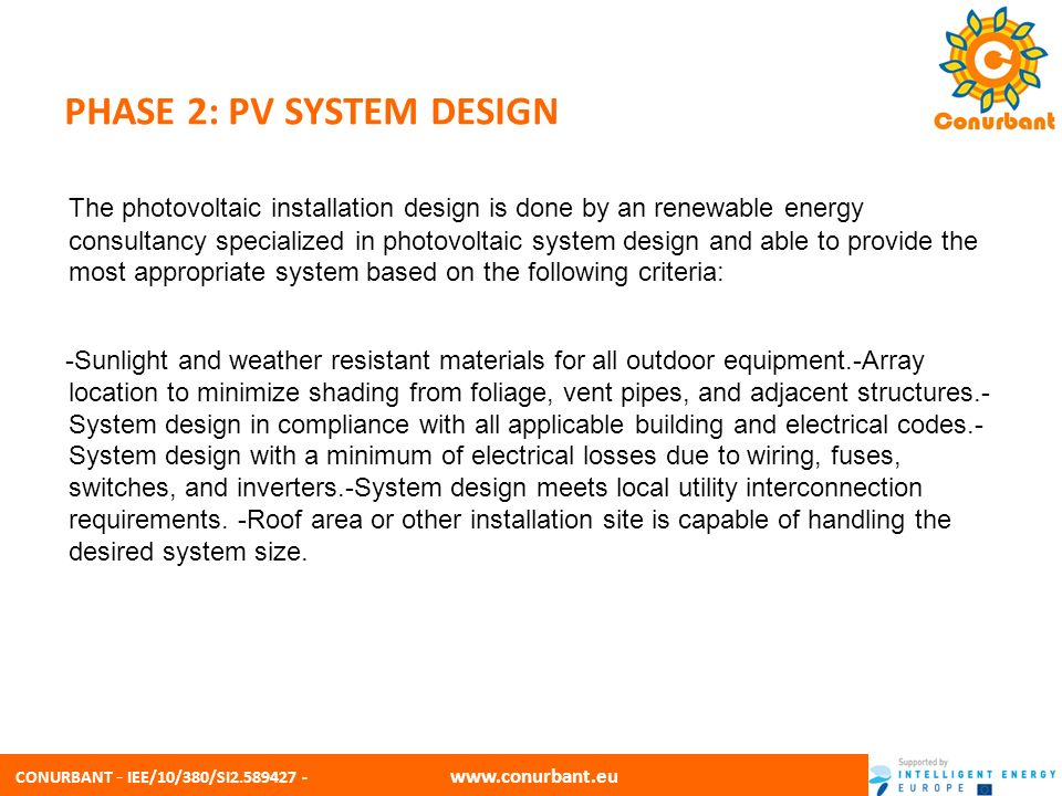 CONURBANT - IEE/10/380/SI2.589427 - www.conurbant.eu PHASE 2: PV SYSTEM DESIGN A- Estimating system output PV systems produce power in proportion to the intensity of sunlight striking the solar array surface.