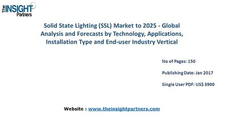 Solid State Lighting (SSL) Market to Global Analysis and Forecasts by Technology, Applications, Installation Type and End-user Industry Vertical.