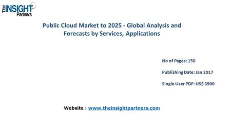 Public Cloud Market to Global Analysis and Forecasts by Services, Applications No of Pages: 150 Publishing Date: Jan 2017 Single User PDF: US$ 3900.