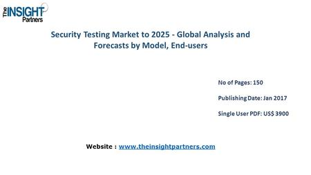 Security Testing Market to Global Analysis and Forecasts by Model, End-users No of Pages: 150 Publishing Date: Jan 2017 Single User PDF: US$ 3900.