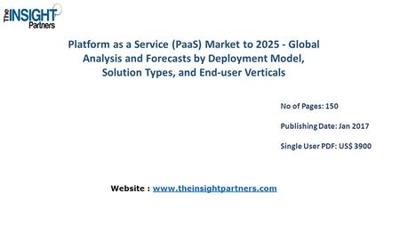 Platform as a Service (PaaS) Market to Global Analysis and Forecasts by Deployment Model, Solution Types, and End-user Verticals No of Pages: 150.