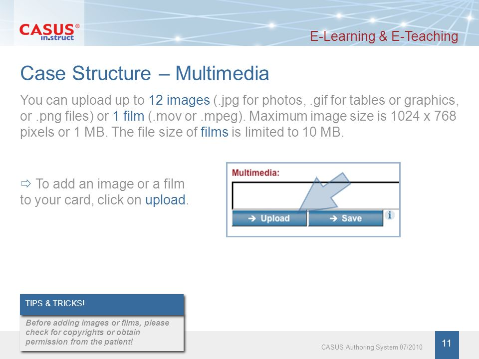 www.instruct.de 12 CASUS Authoring System 07/2010 Case Structure – Multimedia E-Learning & E-Teaching You can enter a key into the field to the right of the uploaded multimedia element.
