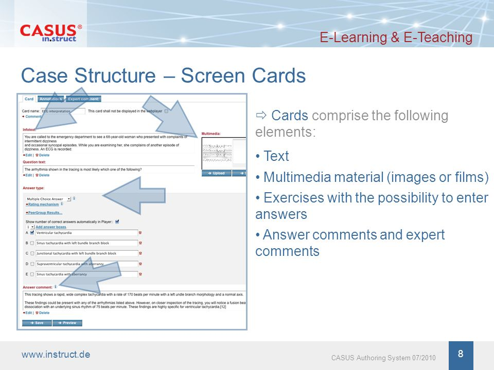 www.instruct.de 9 CASUS Authoring System 07/2010 Screen Card – Text E-Learning & E-Teaching Texts (e.g.