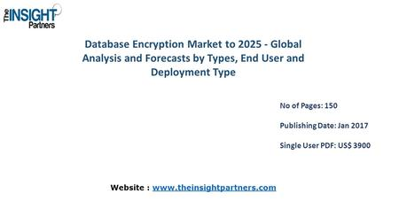 Database Encryption Market to Global Analysis and Forecasts by Types, End User and Deployment Type No of Pages: 150 Publishing Date: Jan 2017 Single.