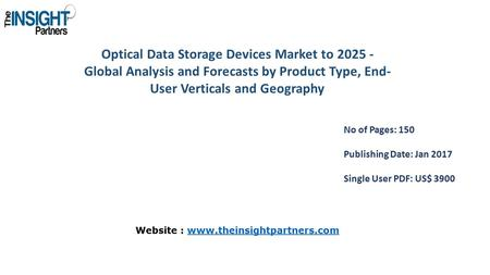 Optical Data Storage Devices Market to Global Analysis and Forecasts by Product Type, End- User Verticals and Geography No of Pages: 150 Publishing.