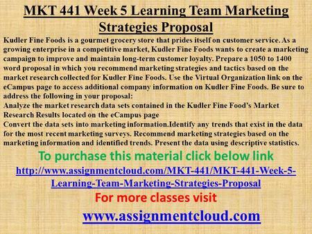 kudler fine foods marketing essay