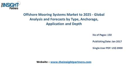 Offshore Mooring Systems Market to Global Analysis and Forecasts by Type, Anchorage, Application and Depth No of Pages: 150 Publishing Date: Jan.