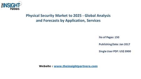 Physical Security Market to Global Analysis and Forecasts by Application, Services No of Pages: 150 Publishing Date: Jan 2017 Single User PDF: US$