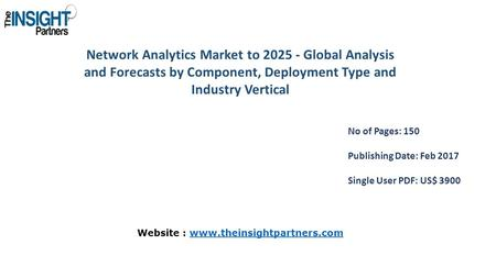 Network Analytics Market to Global Analysis and Forecasts by Component, Deployment Type and Industry Vertical No of Pages: 150 Publishing Date: