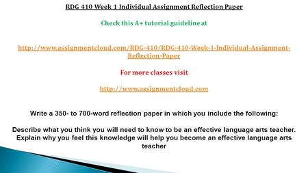 RDG 410 Week 1 Individual Assignment Reflection Paper Check this A+ tutorial guideline at