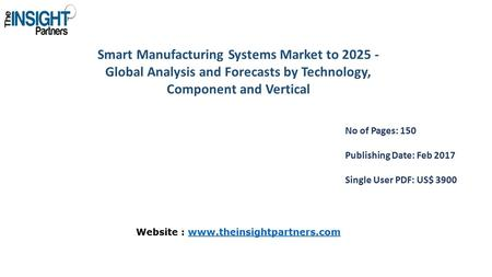 Smart Manufacturing Systems Market to Global Analysis and Forecasts by Technology, Component and Vertical No of Pages: 150 Publishing Date: Feb.