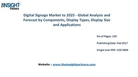 Digital Signage Market to Global Analysis and Forecast by Components, Display Types, Display Size and Applications No of Pages: 150 Publishing Date: