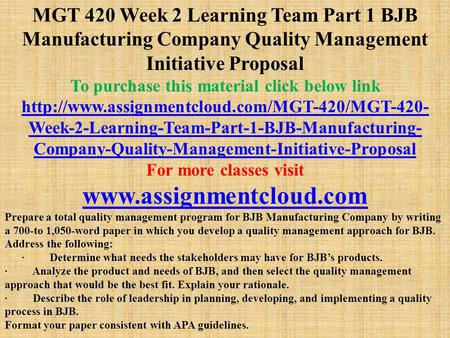 role of leadership in planning developing and implementing a quality process in bjb