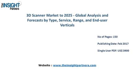 3D Scanner Market to Global Analysis and Forecasts by Type, Service, Range, and End-user Verticals No of Pages: 150 Publishing Date: Feb 2017 Single.
