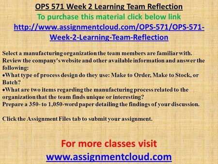 OPS 571 Week 2 Learning Team Reflection To purchase this material click below link  Week-2-Learning-Team-Reflection.