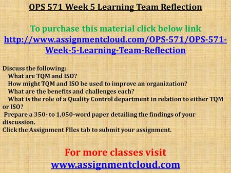 OPS 571 Week 5 Learning Team Reflection To purchase this material click below link  Week-5-Learning-Team-Reflection.