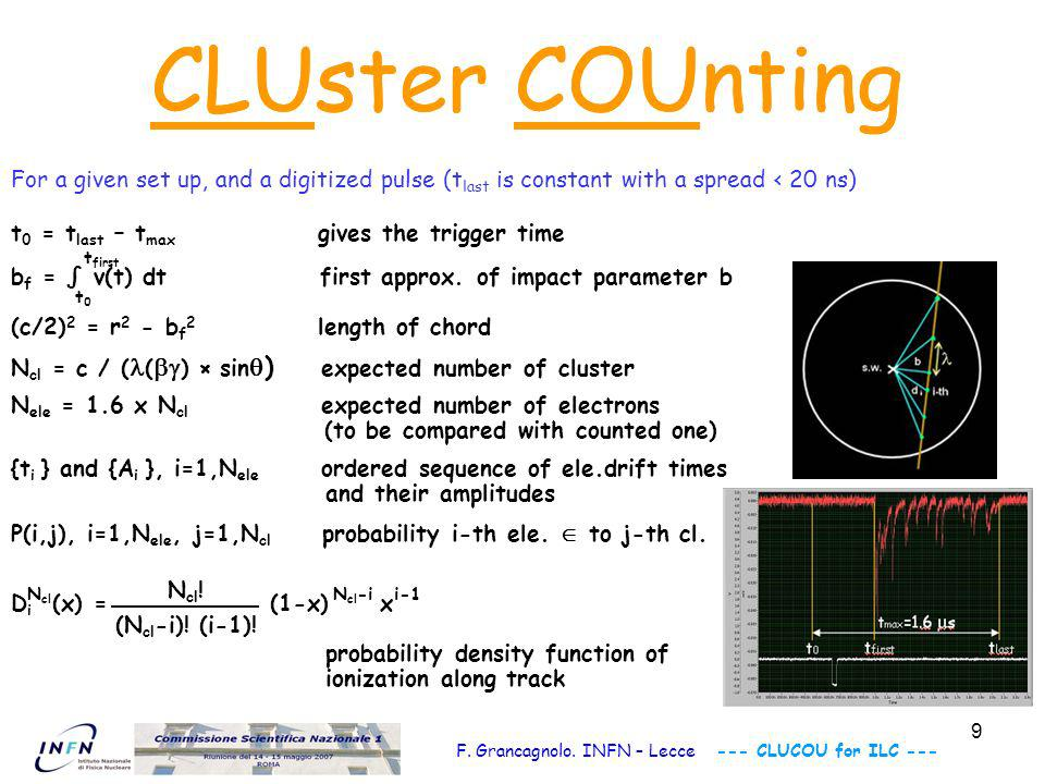 10 Each cluster contributes to the measurement of the impact parameter with an independent estimate weighted according to the Poisson nature of the process and the electron diffusion along the drift path.