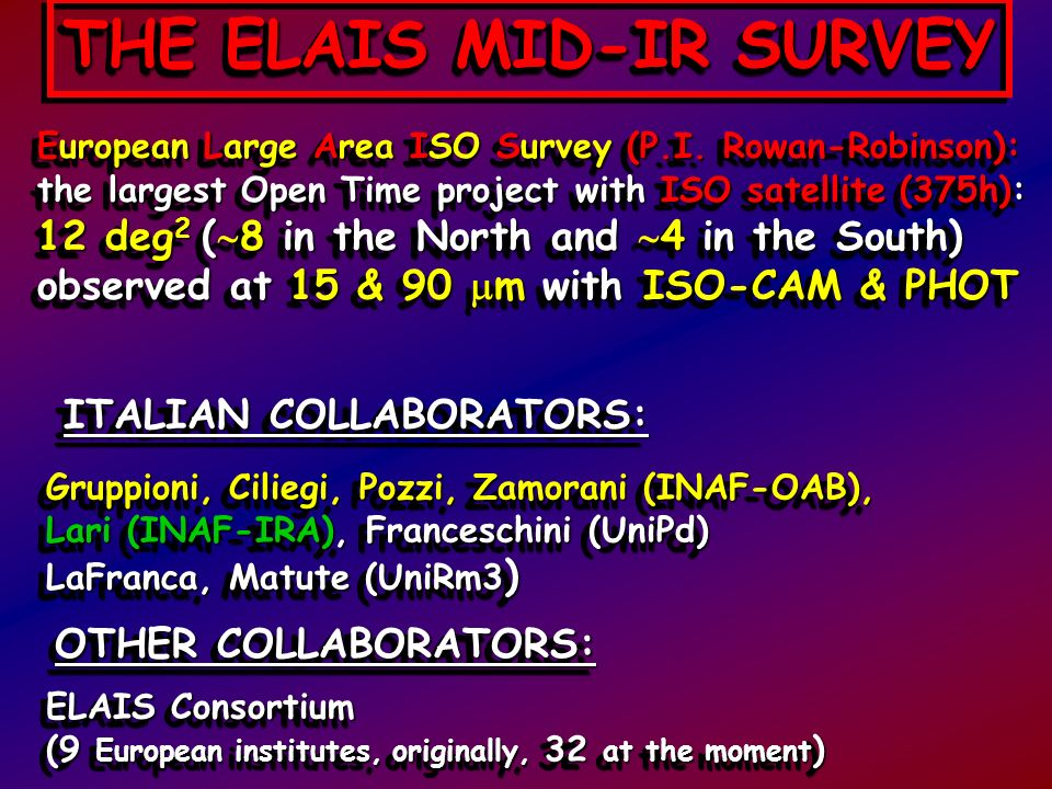 ELAIS-S1 (4 deg 2 ): Catalogue of 462 source 90% (100%) complete at 2 (3) mJy: 320 extragalactic objects (Lari, Pozzi, Gruppioni et al., 2001,MNRAS,325,1173) Source Counts in the range 0.5 - 100 mJy: strong evolution for starburst galaxies (Gruppioni, Lari, Pozzi et al.