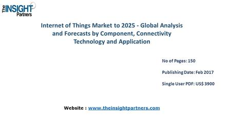 Internet of Things Market to Global Analysis and Forecasts by Component, Connectivity Technology and Application No of Pages: 150 Publishing Date: