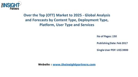 Over the Top (OTT) Market to Global Analysis and Forecasts by Content Type, Deployment Type, Platform, User Type and Services No of Pages: 150 Publishing.