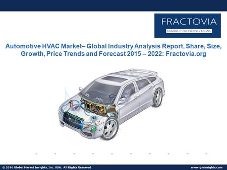 © 2016 Global Market Insights, Inc. USA. All Rights Reserved  Fuel Cell Market size worth $25.5bn by 2024 Automotive HVAC Market– Global.